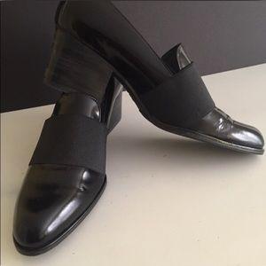 Stuart Weitzman black patent leather loafers